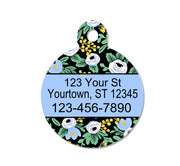 Black Floral Pet ID Tag-Primavera Rosa Black - Double Sided