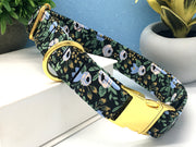 Primavera Rosa Black and Blue Floral Dog Collar | FURBELOW Canine Designs