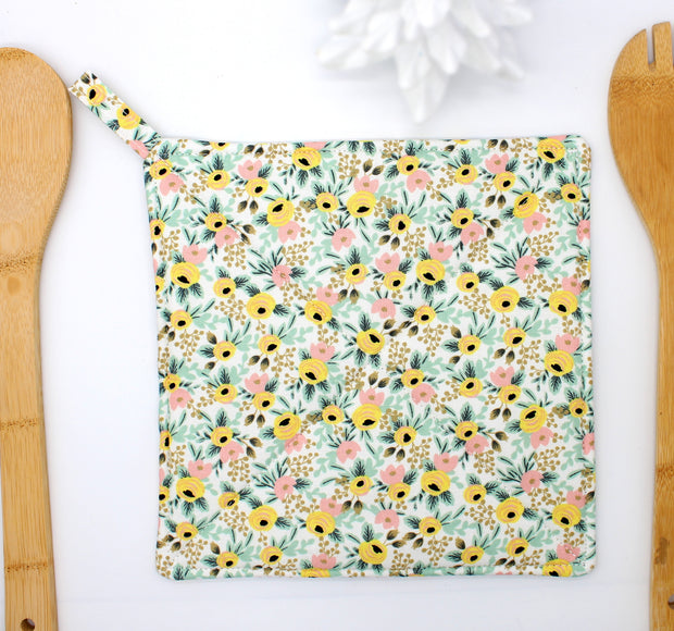 Potholder, Primavera Rosa Yellow, Double Insulated