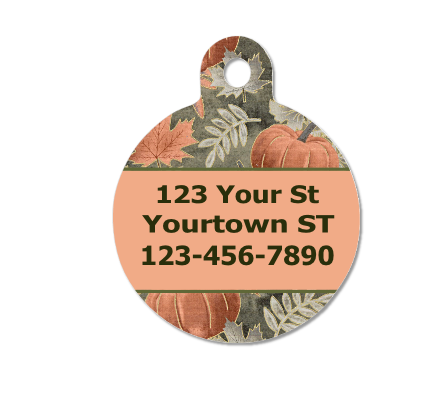 Rose Gold Pumpkins Autumn Pet ID Tag - Double Sided