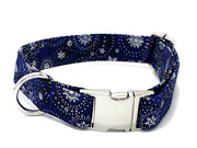 Silvery Snowflakes Holiday Designer Dog Collar