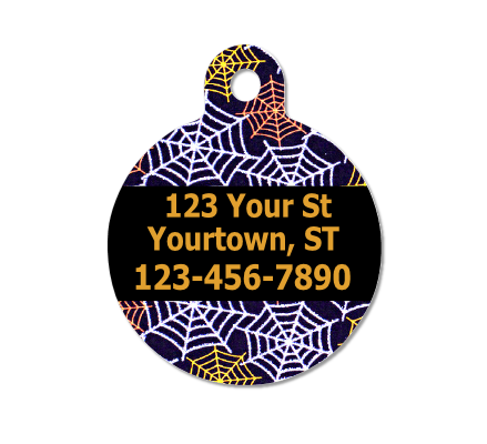 Spiderweb Halloween Pet ID Tag - Double Sided