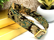 Teal & Cream Floral Glitter Gold Designer Dog Collar