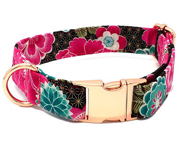 Metallic Gold, Pink & Teal Floral Designer Dog Collar