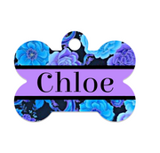 Turquoise & Purple Flowers Pet ID Tag - Double Sided
