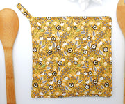 Potholder, Mustard Yellow Wildflowers, Double Insulated