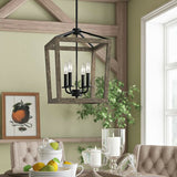 4 Light Lantern Adjustable Dimmable Square/Rectangle Chandelier