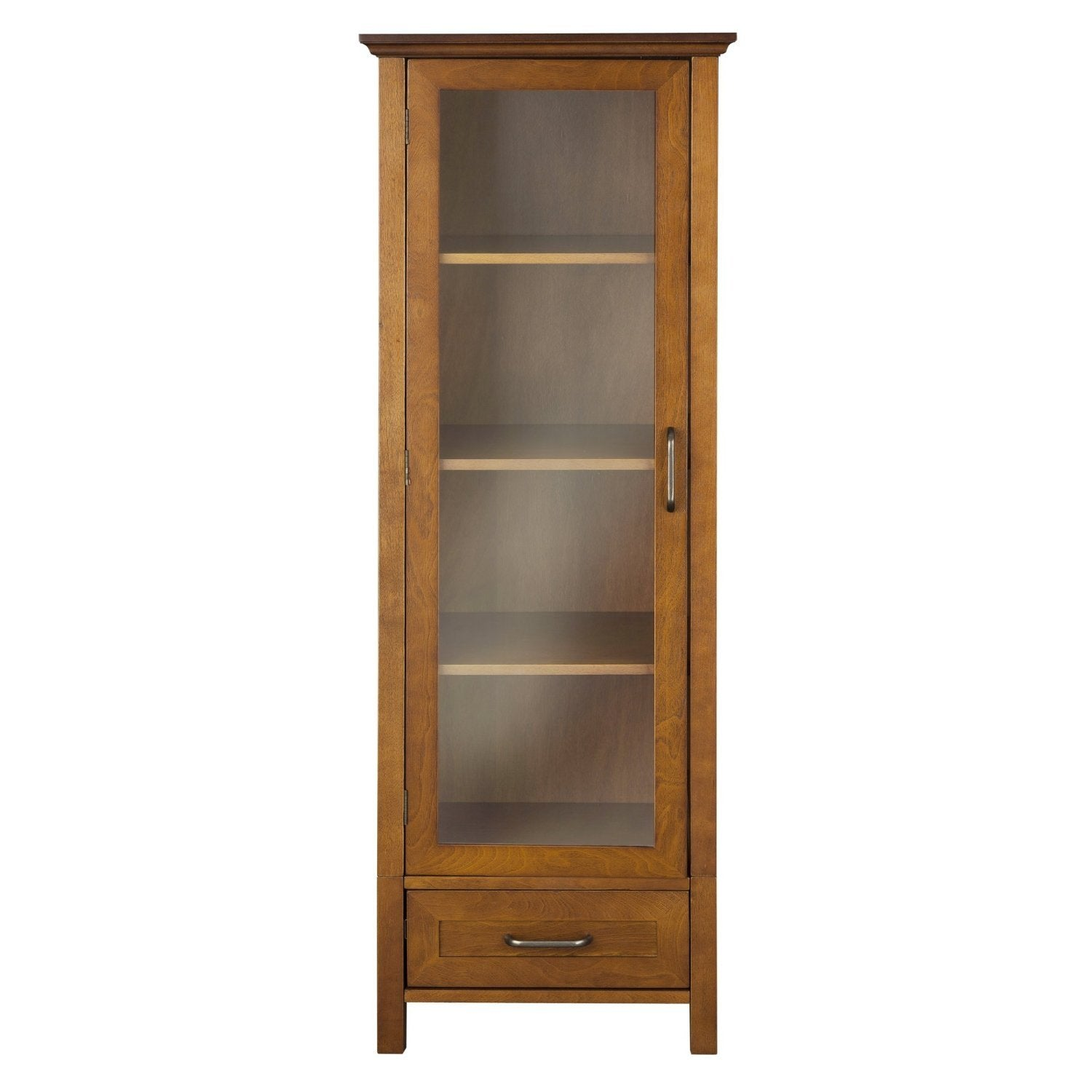 Oak Finish Linen Tower Glass Door Bathroom Storage Cabinet w/ Drawer