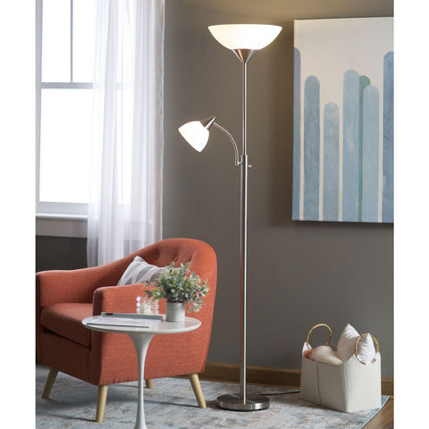 Modern 71-inch High Floor Lamp with Gooseneck Reading Light