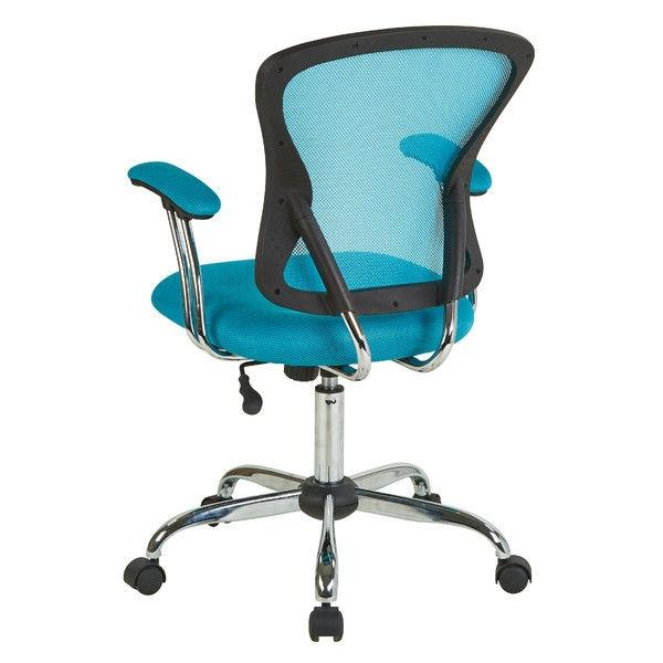 Blue High Back Mesh Office Chair with Padded Armrest
