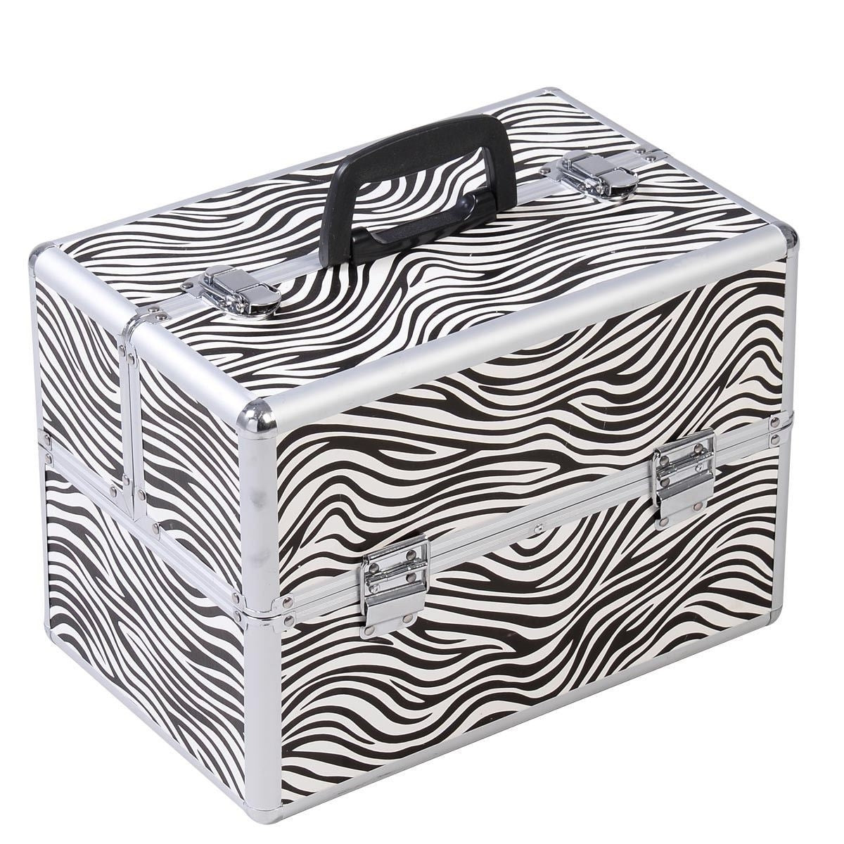 Portable Jewelry Box Makeup Storage Case Organizer in Zebra