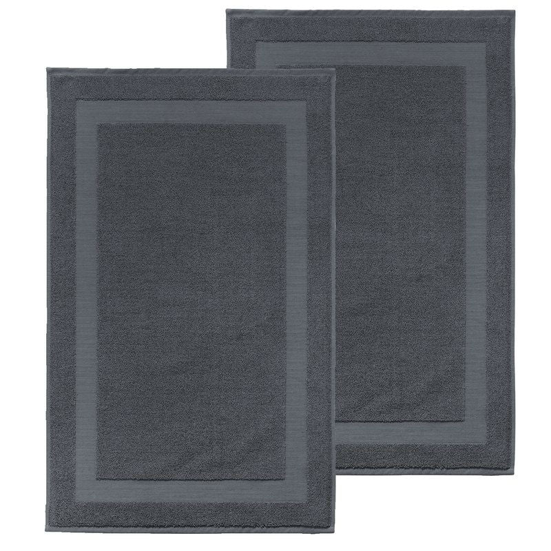 Set of 2 Turkish 100% Cotton Bath Rug Mats Anthracite - Dark Gray