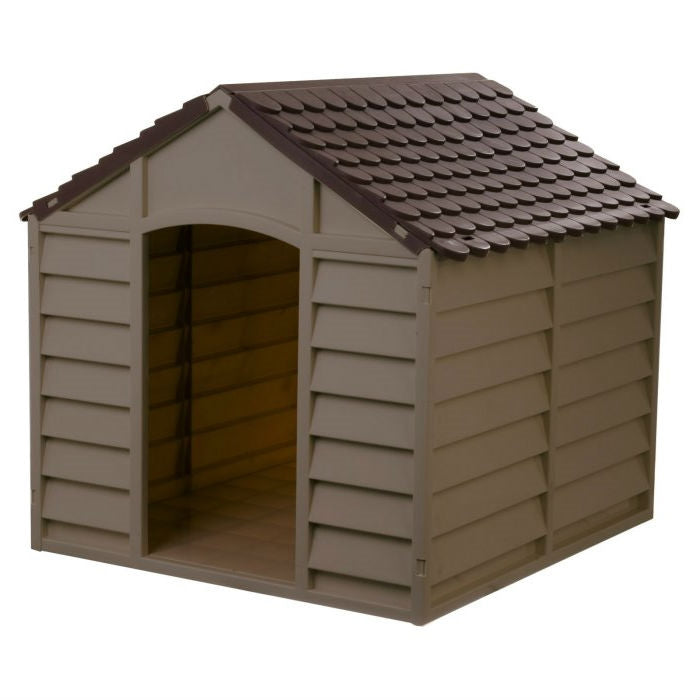 Large Heavy Duty Outdoor Waterproof Dog House in Brown Polypropylene
