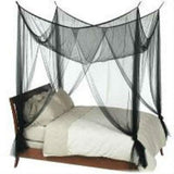Black 4-Post Canopy Bed Mesh Netting Mosquito Net