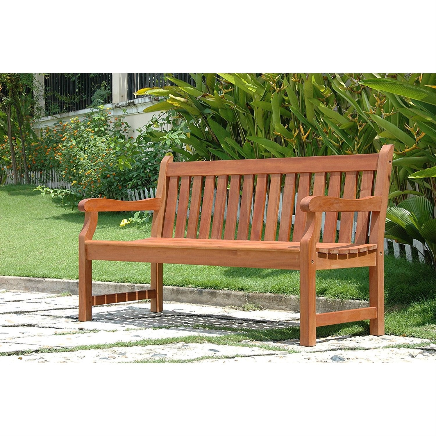 Outdoor Eucalyptus Wood 5-Ft Garden Bench with Natural Finish