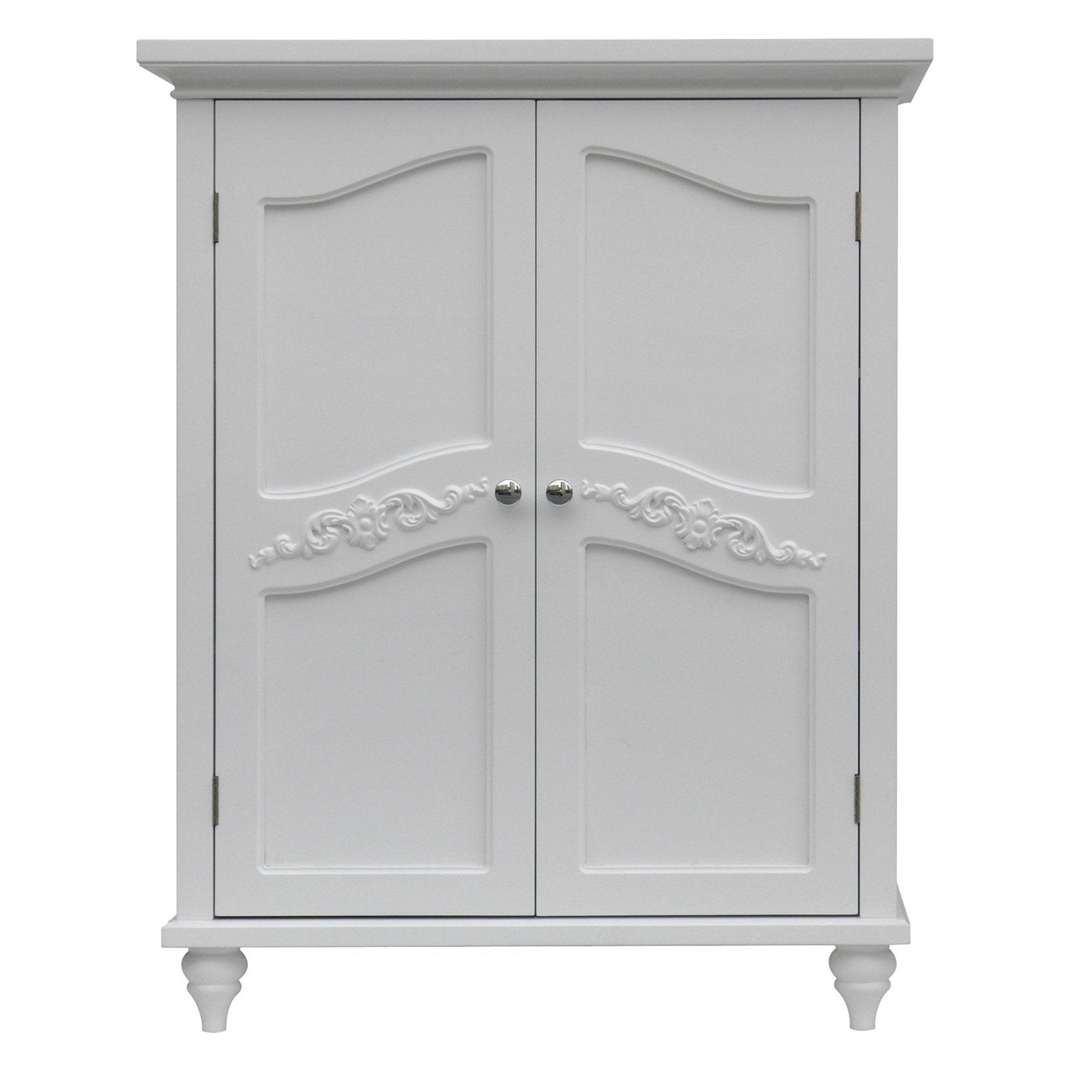 Bathroom Linen Storage Floor Cabinet with 2-Doors in White Wood Finish