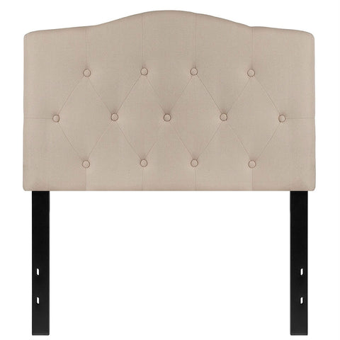 Twin size Beige Fabric Upholstered Button Tufted Headboard