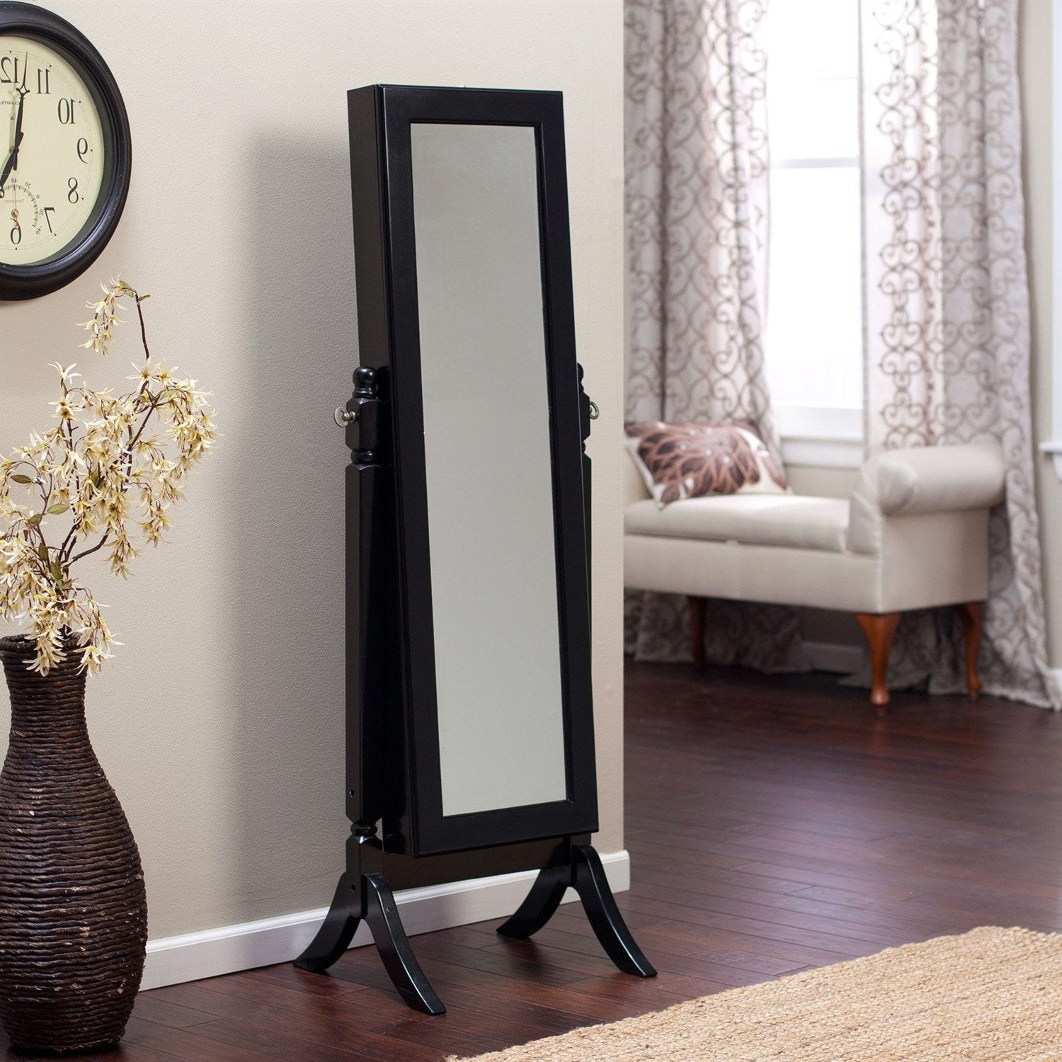 Full Length Tilting Cheval Mirror Jewelry Armoire in Black Wood Finish