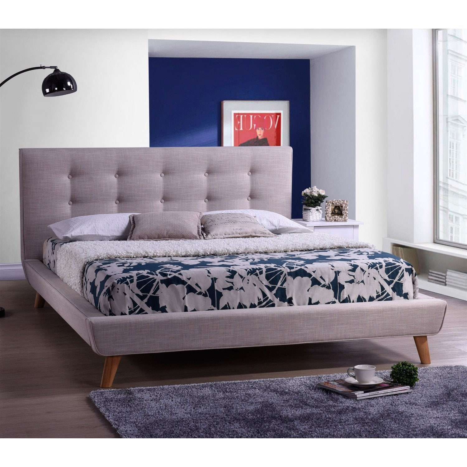 Full size Beige Linen Platform Bed with Button Tufted Headboard