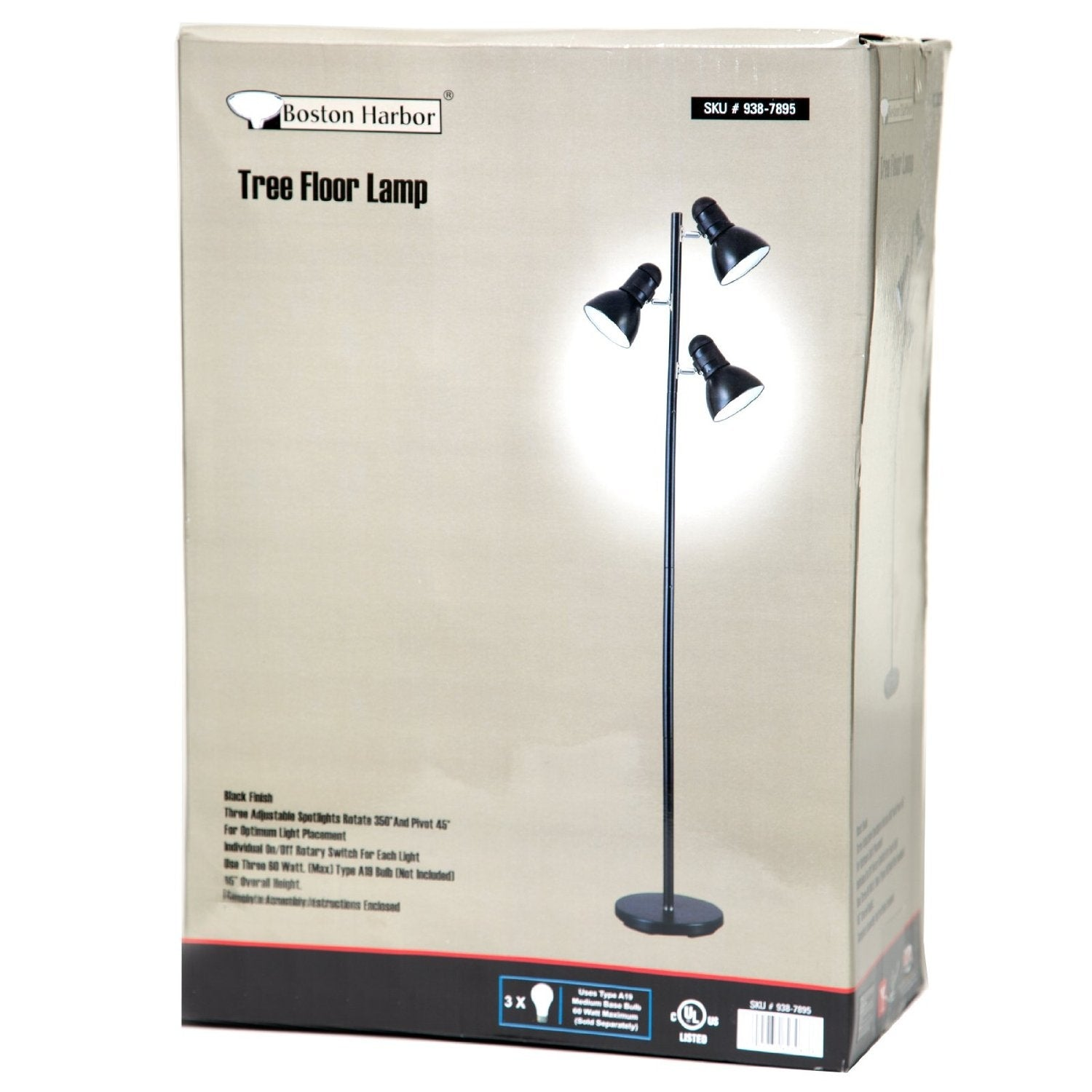 65-inch Black 3-Light Tree Lamp Spotlight Floor Lamp