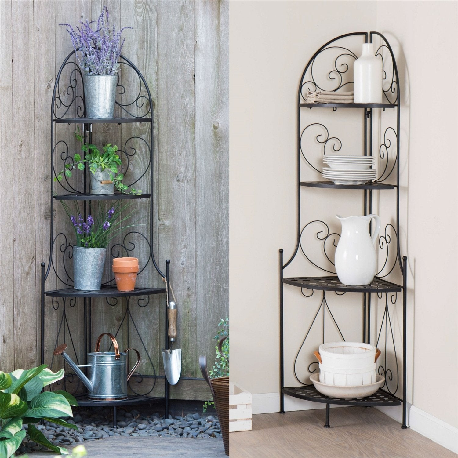 Indoor / Outdoor Corner Bakers Rack Folding Metal Plant Stand with 4-Shelves