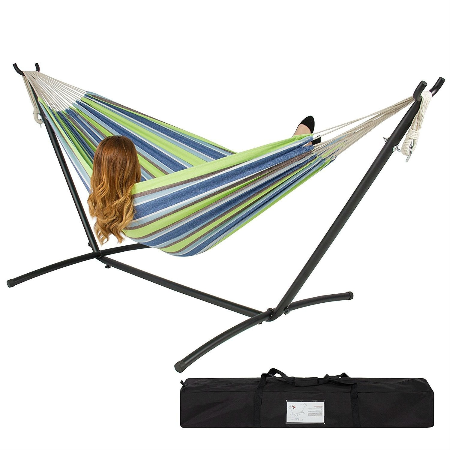Portable Blue Green Stripe Cotton Hammock with Metal Stand and Carry Case