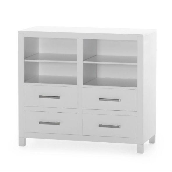 Modern White Freestanding Bathroom Floor Linen Cabinet with Open Shelves