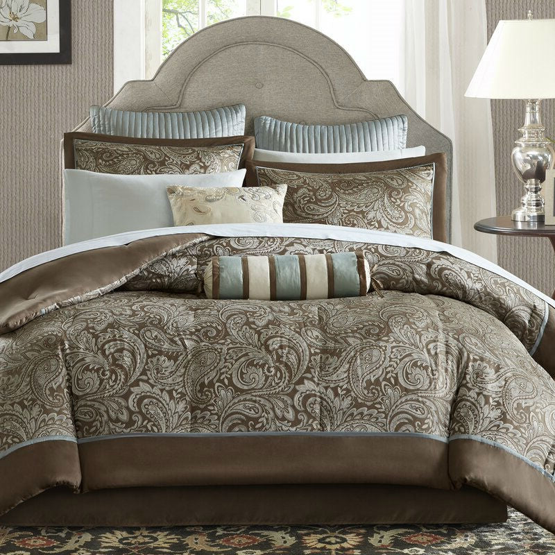 Full size 12-piece Reversible Cotton Comforter Set in Brown and Blue