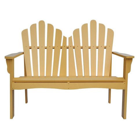Outdoor Cedar Wood Garden Bench Loveseat in Beeswax Finish