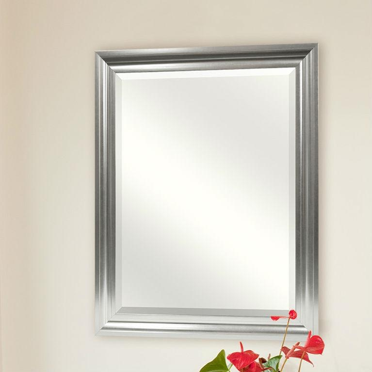Rectangular Beveled Vanity Mirror with Satin Silver Finish Frame