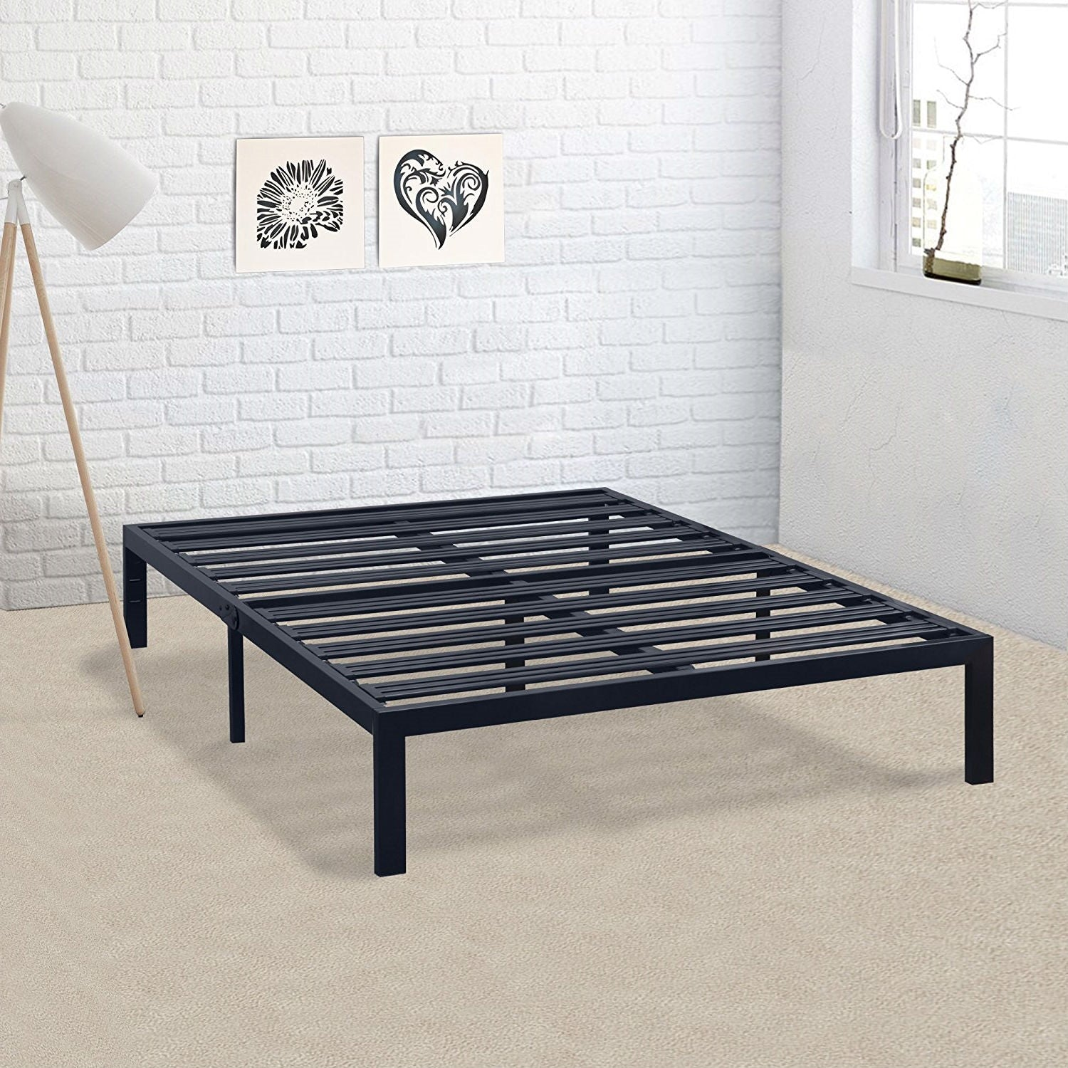 California King Metal Platform Bed Frame with Heavy Duty Slats