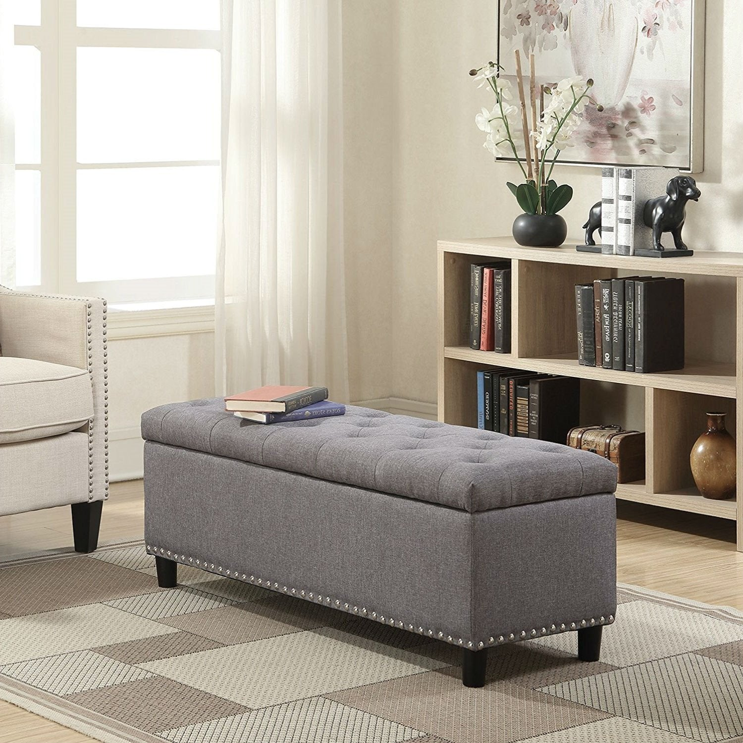 Grey Linen 48-inch Bedroom Storage Ottoman Bench Footrest