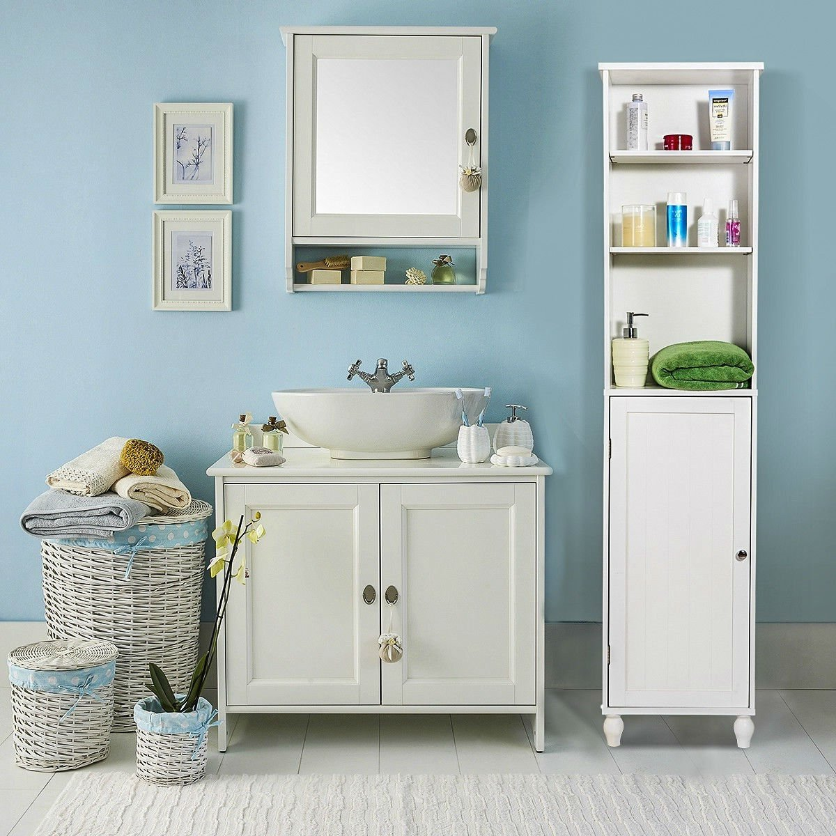 Bathroom Storage Tower Display Linen Cabinet with Open Shelves