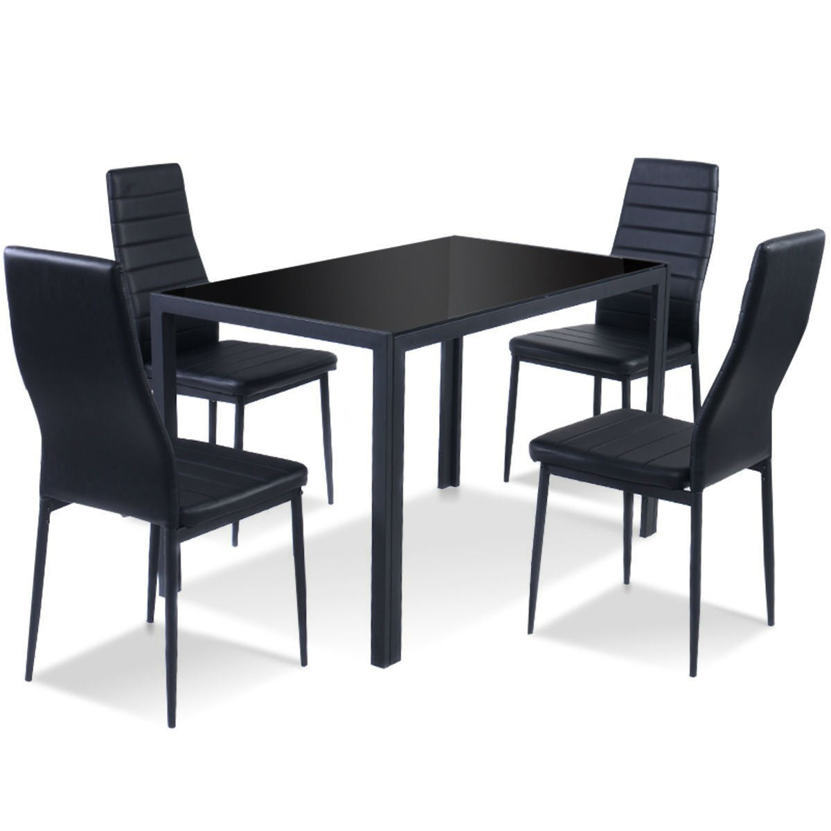 5 Piece Black Glass Tabletop Dining Set With Soft Leather Chairs