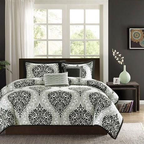 California King size 5-Piece Black White Damask Comforter Set