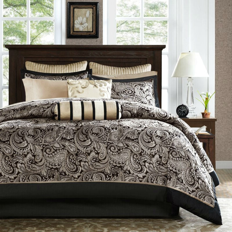 California King 12-Piece Reversible Paisley Cotton Comforter Set in Black Gold
