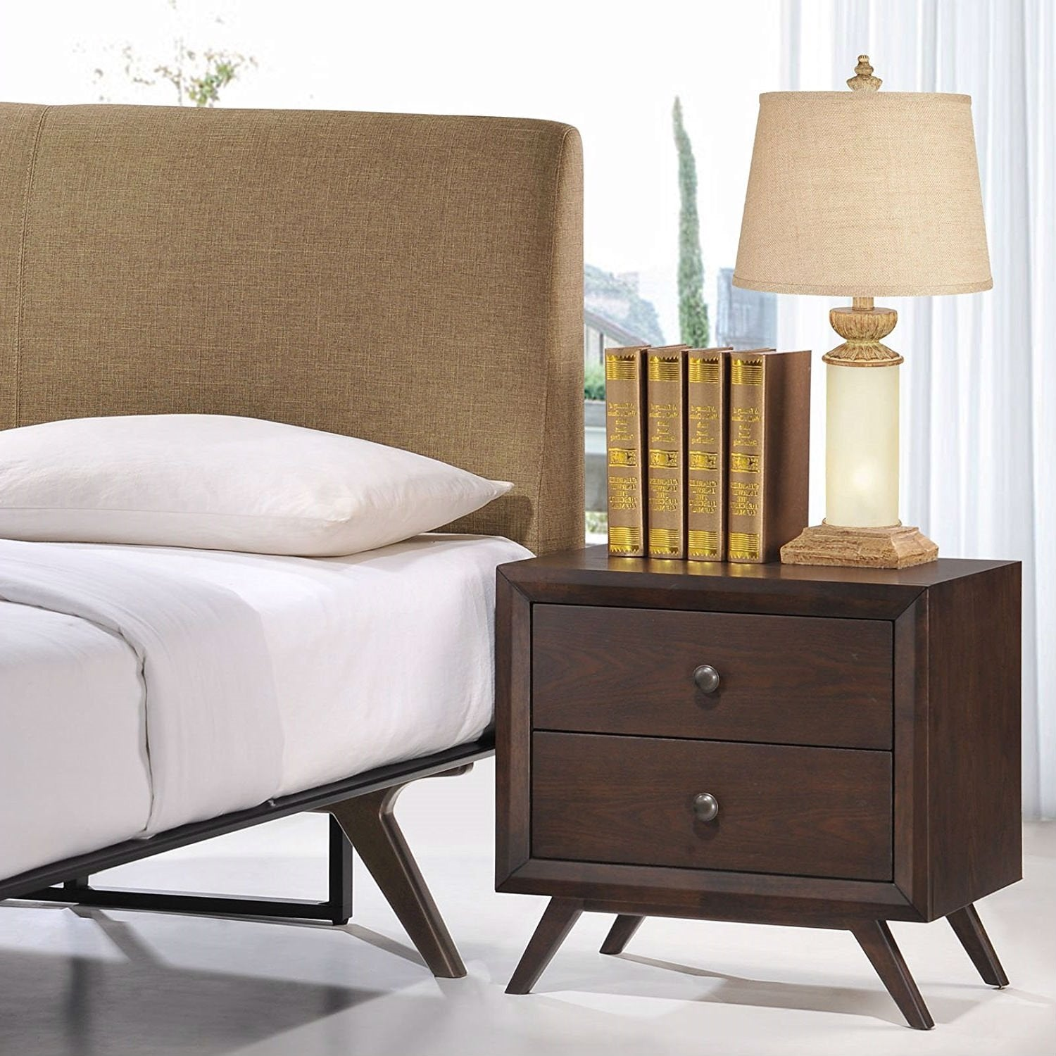 Mid-Century Modern Style End Table Nightstand in Cappuccino Wood Finish