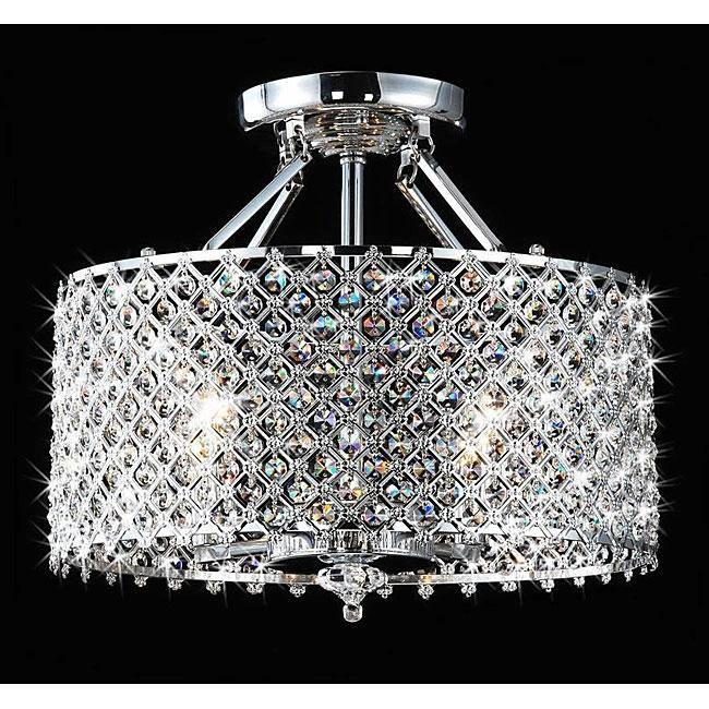 Chrome & Crystal 4 Light Round Ceiling Chandelier
