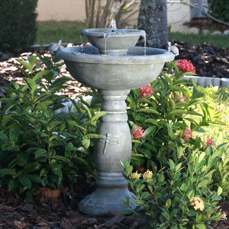 Weathered Stone Finish Outdoor Resin Solar Fountain Bird Bath