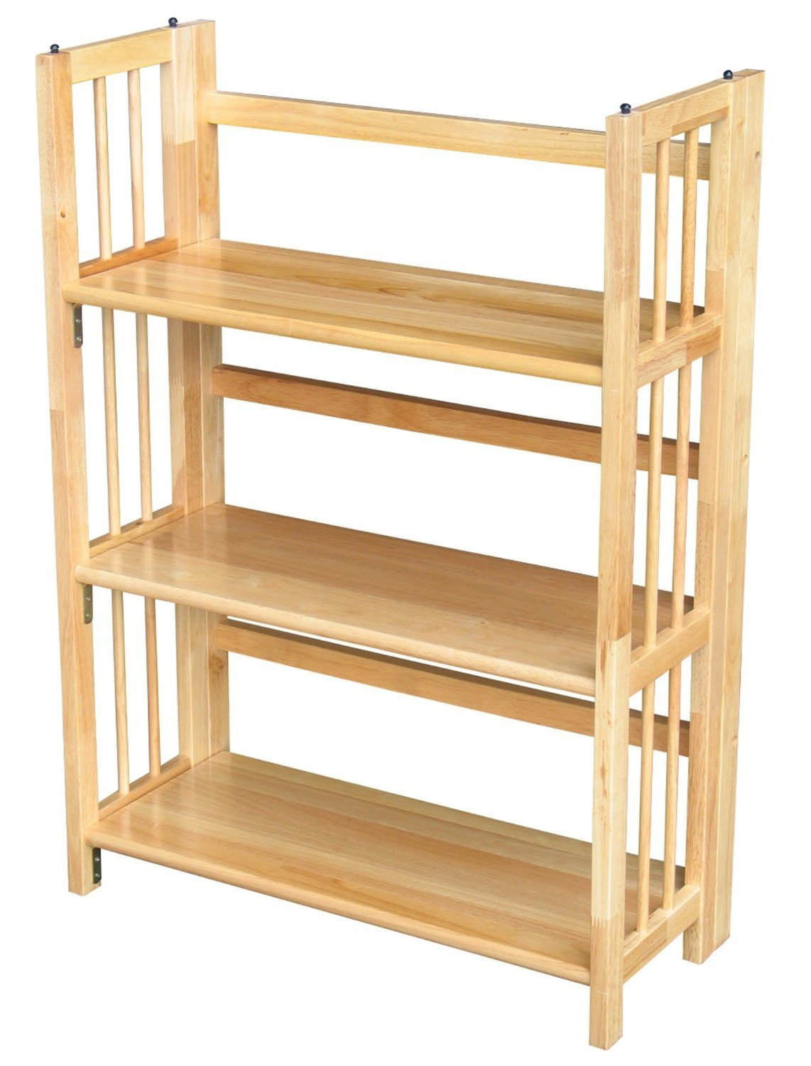 3-Shelf Folding Bookcase Storage Shelves in Natural Wood Finish