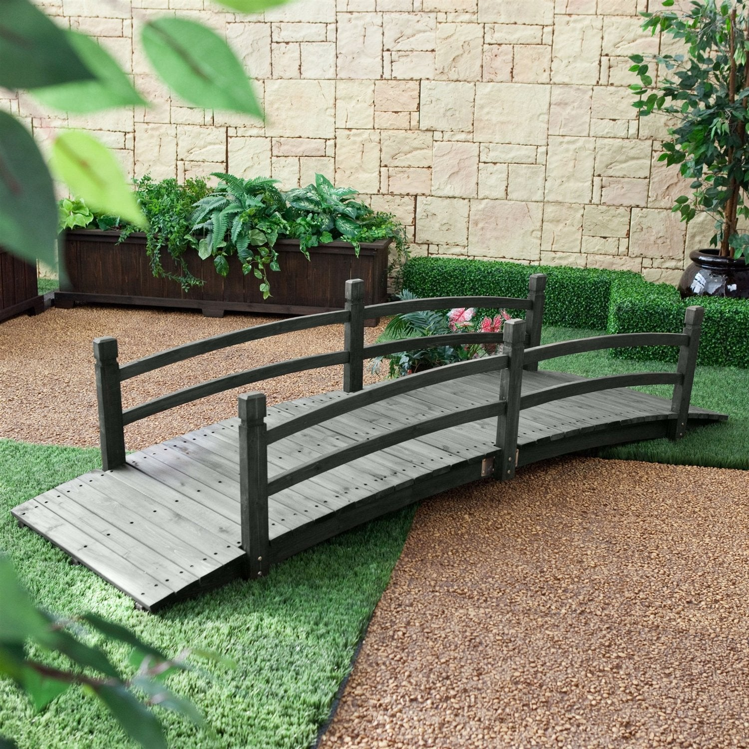 8-Ft Outdoor Garden Bridge with Handrails in Weather Resistant Dark Wood Stain