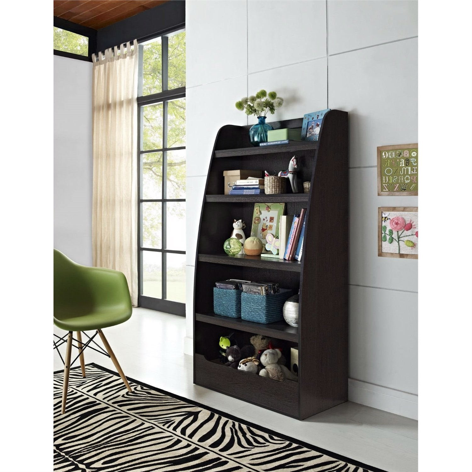 4-Shelf Bookcase in Espresso Wood Finish Childs Bedroom