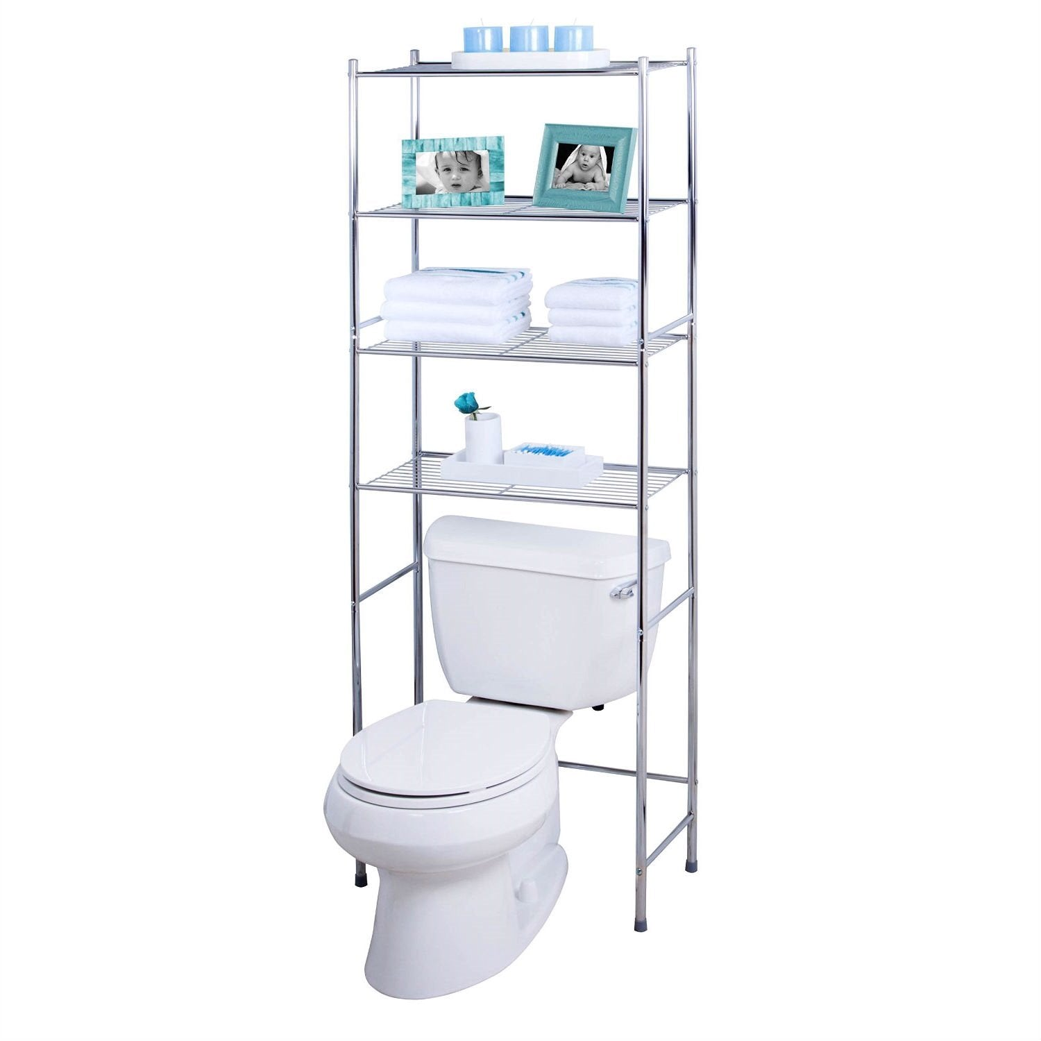 Bathroom Linen Tower Over the Toilet Shelving Unit in Chrome Metal Finish