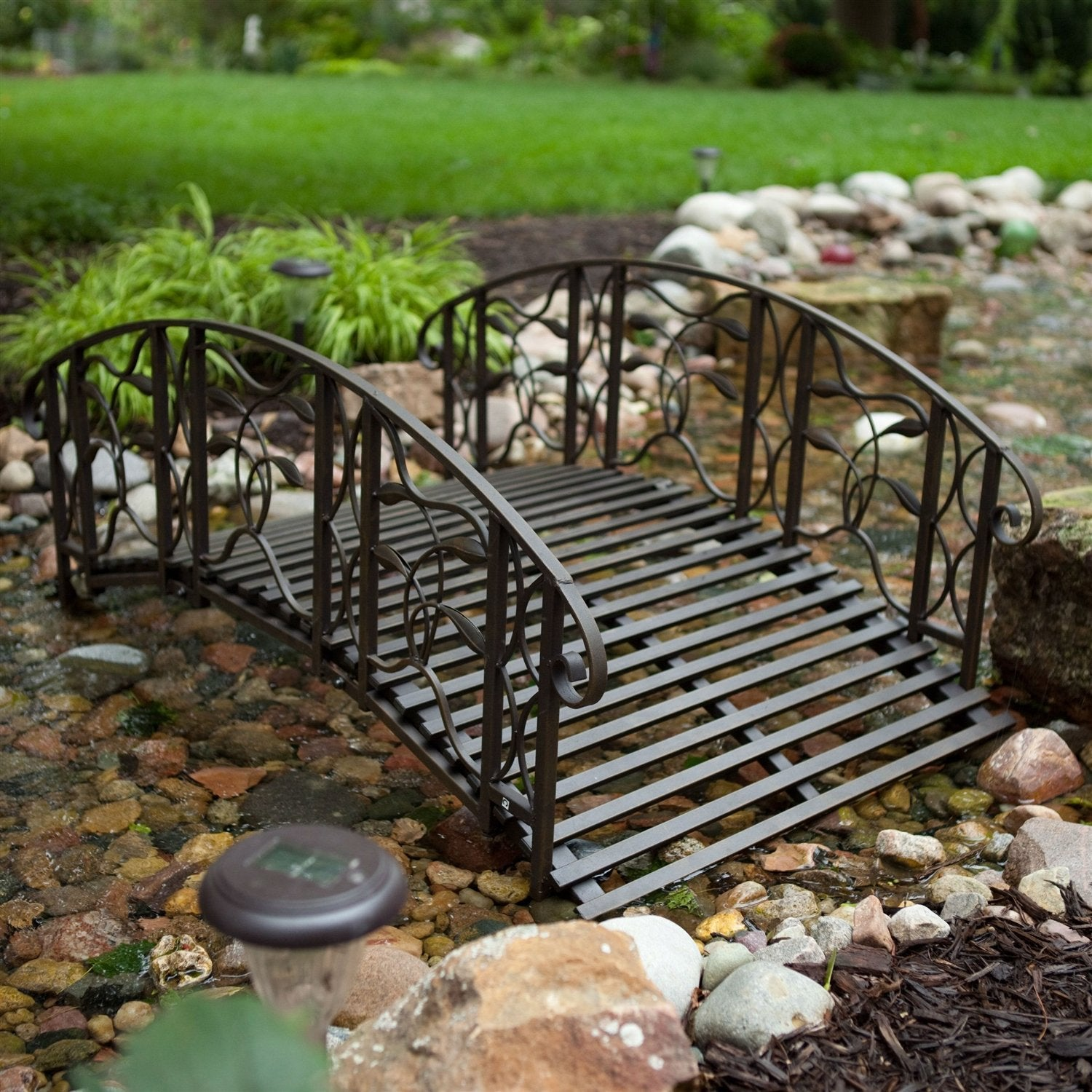 4-Foot Steel Frame Metal Garden Bridge in Rustic Weathered Black Finish