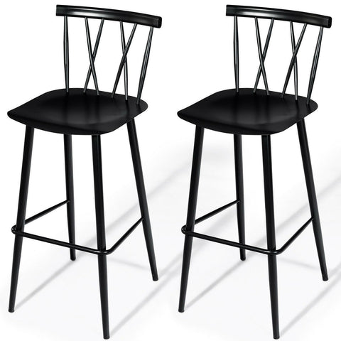 Set of 2 Black Steel Bar Height Barstool Dining Chairs