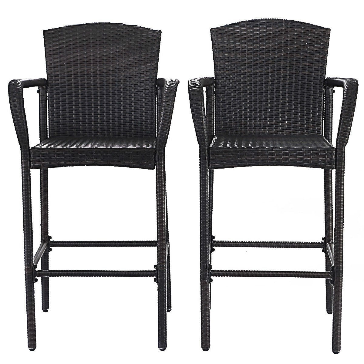 Set of 2 47-inch Bar Height Brown Rattan Barstool Chairs