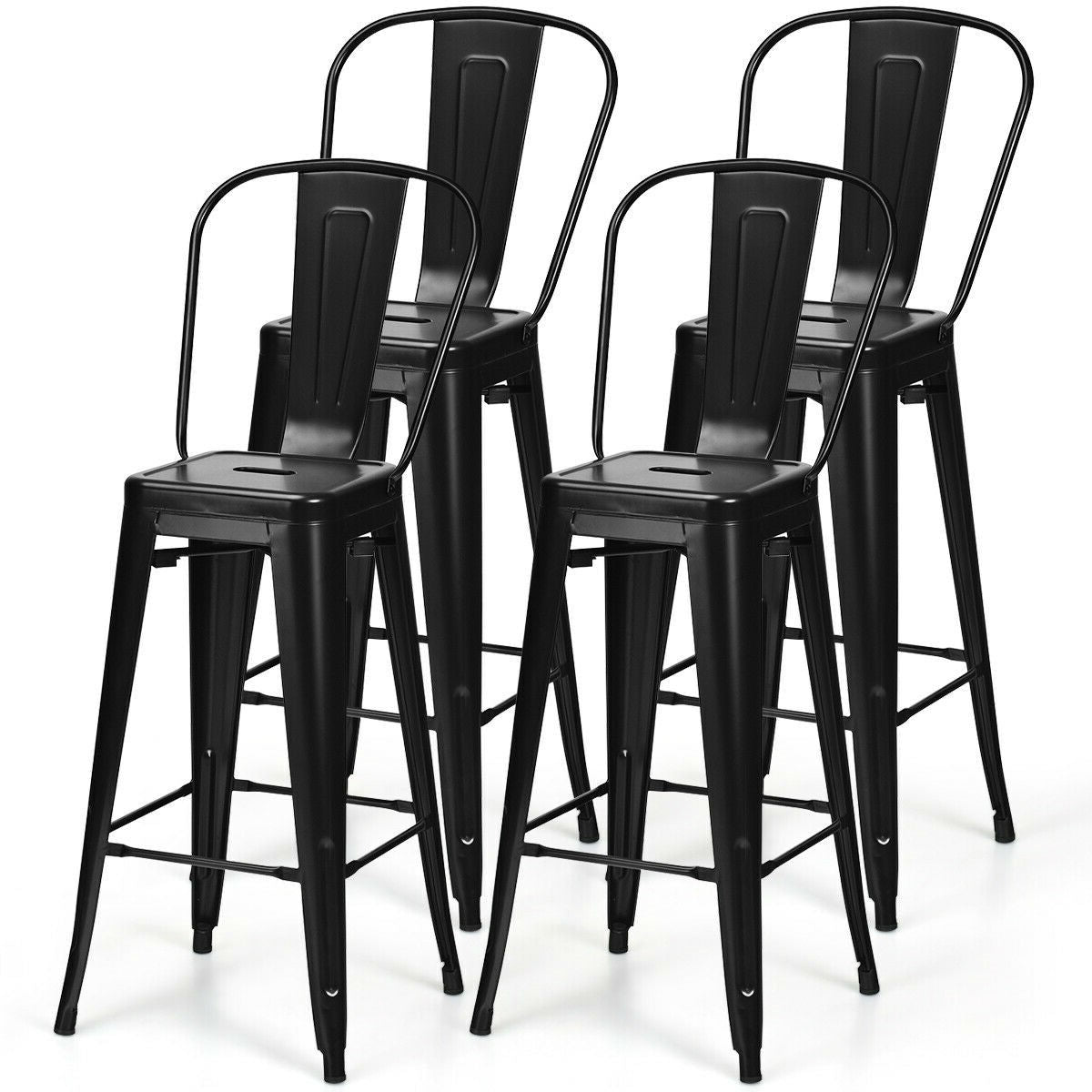 "Set of 4 Black 30"" Height High Back Metal Industrial Bar Stools"