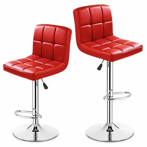 Set of 2 Red Faux Leather Swivel Bar Stools Pub Chairs