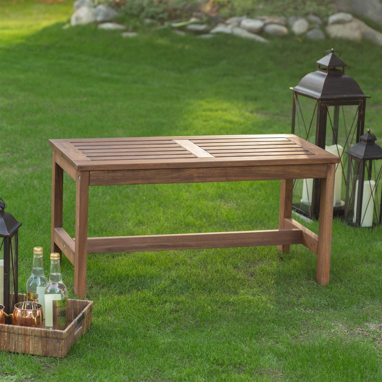 3-Ft Outdoor Backless Garden Bench in Dark Brown Wood Finish