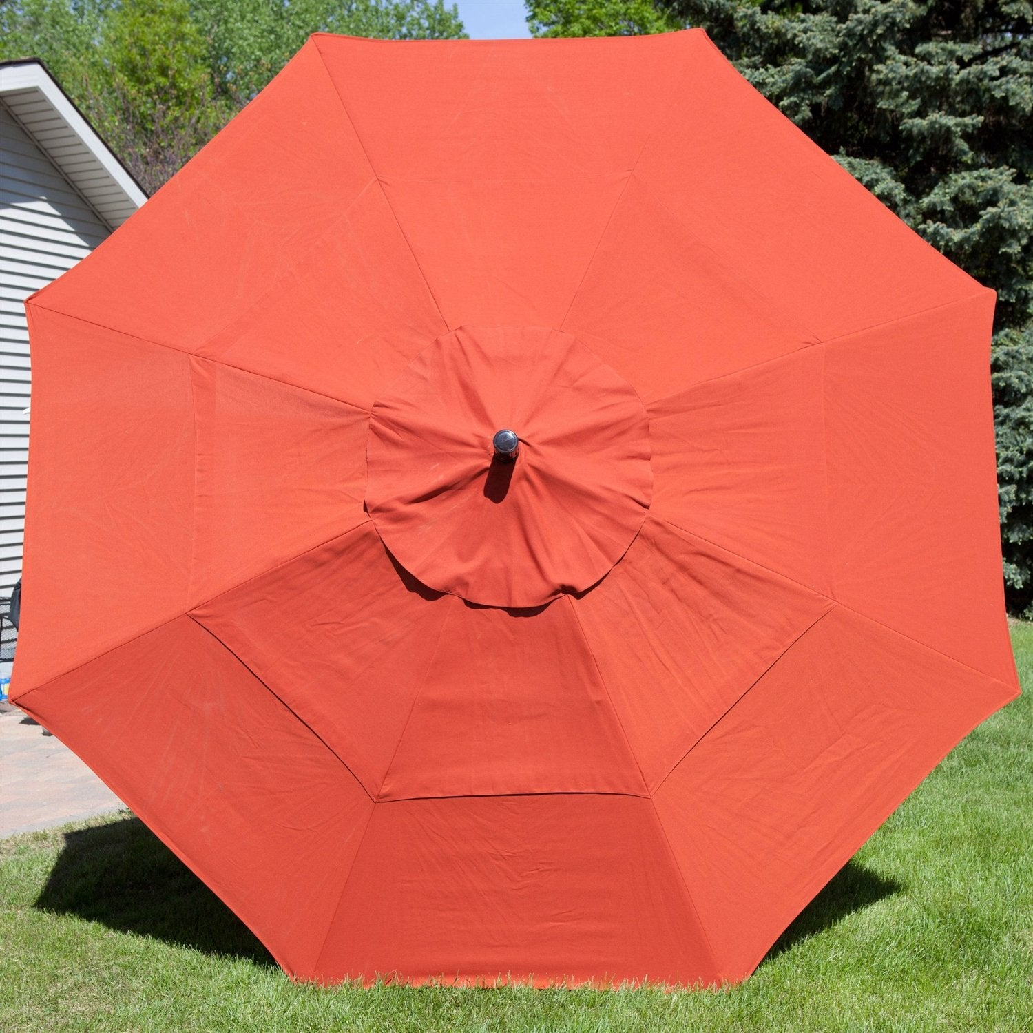 Patio 11-Ft Market Umbrella with Push Button Tilt with Brick Red Orange Shade